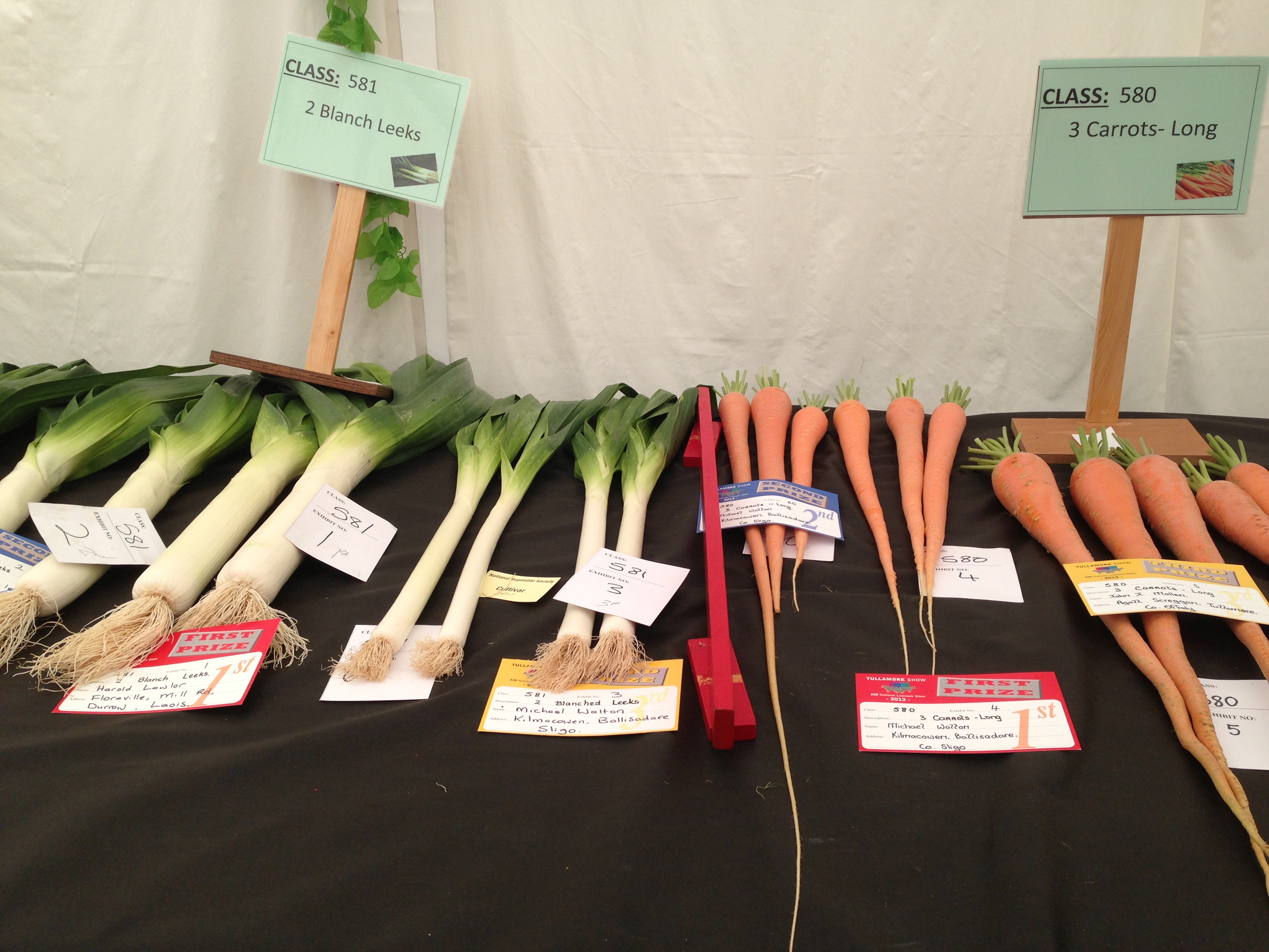 Vegetables at  Tullamore Show
