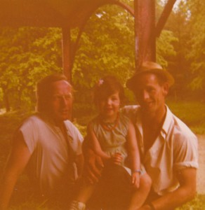 My Dad, Me aged about 4, and our much loved workman, Tommy Byrne