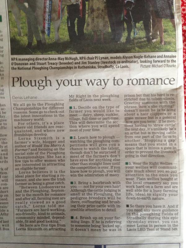 Irish Examiner - Plough Your Way To Romance