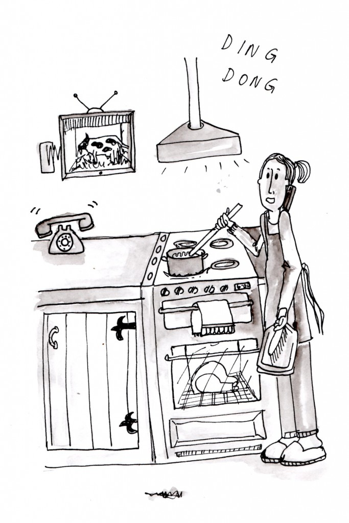 Farm Wife Multi-Tasking