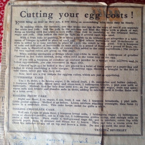 Eggless baking recipes from the 1950s
