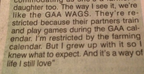 Extract from an interview with a farm wife in the Irish Examiner last week
