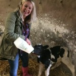 Amanda Brunker learning how to feed calves